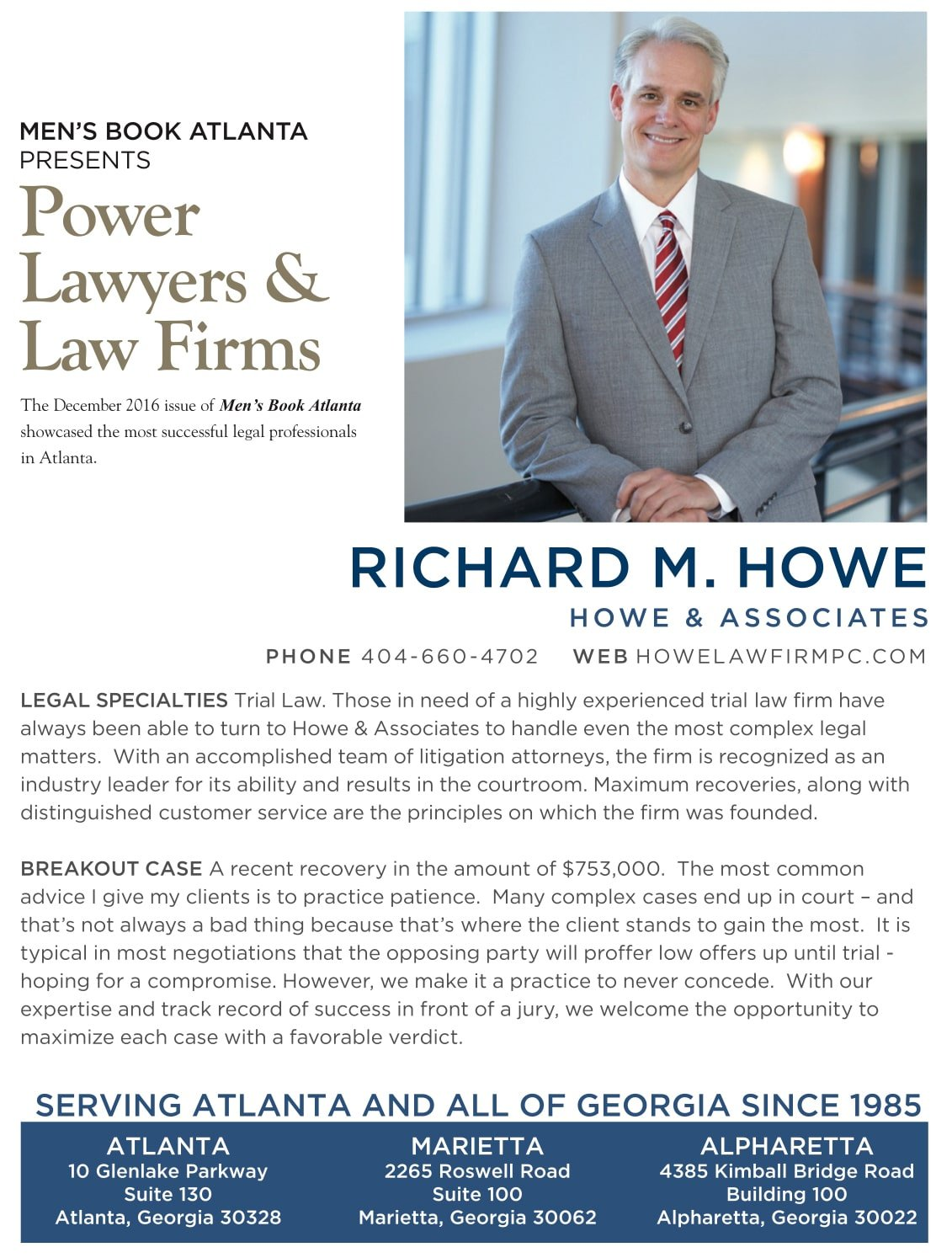 Howe Attorney at law magazine